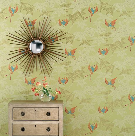 Grove Garden Wallpaper in fresh aqua background and silver accents Color by Osborne & Little