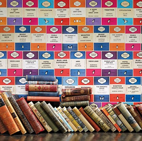 Penguin Library Wallpaper in multi-color from the Persian Garden Collection by Osborne & Little