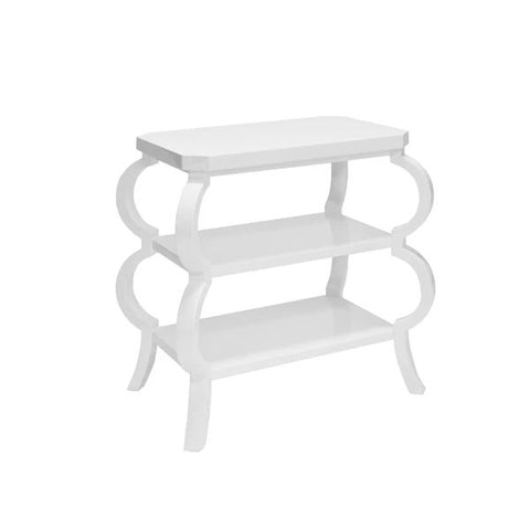 Olive Three Tier Side Table in White Lacquer