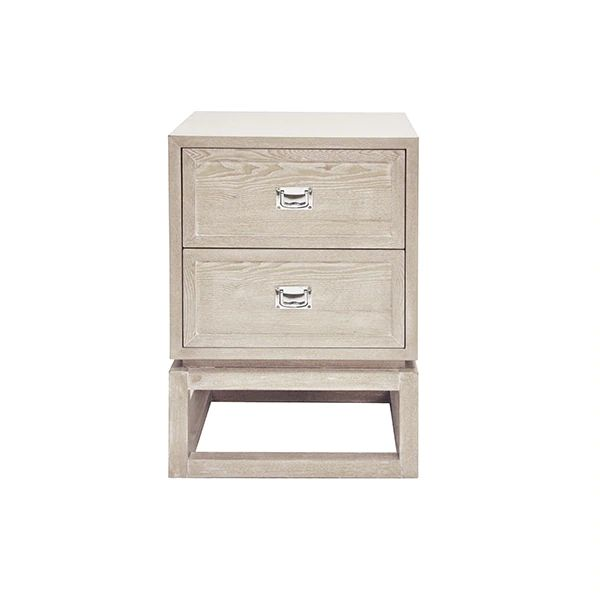 Oliver 2 Drawer Cerused Oak Side Table w/ Nickel Campaign Hardware