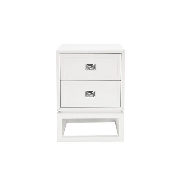 Oliver 2 Drawer White Lacquer Side Table w/ Nickel Campaign Hardware design by BD Studio