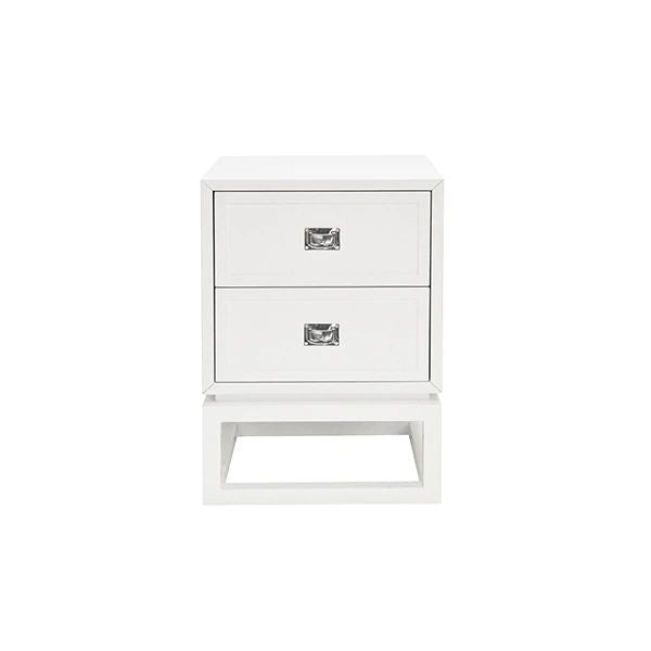 Oliver 2 Drawer White Lacquer Side Table w/ Nickel Campaign Hardware