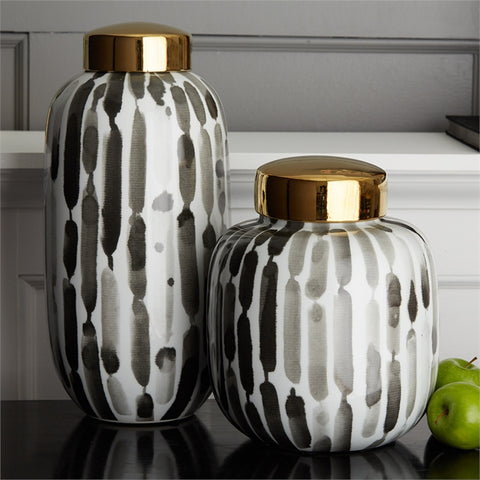 Set of 2 Brush Stroke Black & White Jars design by Tozai