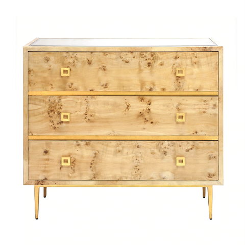 3 Drawer Chest with Gold Leaf Hardware & Base in Various Colors