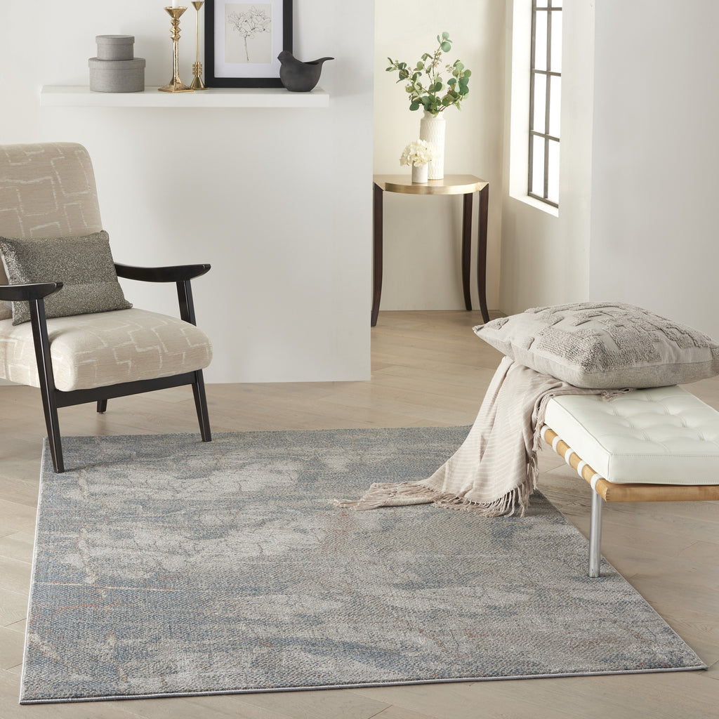 Rustic Textures Rug in Light Grey & Blue by Nourison