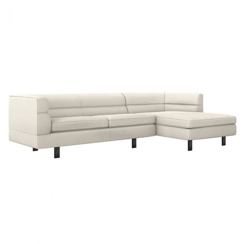 Ornette Right Chaise 2 Piece Sectional in faux linen / pearl