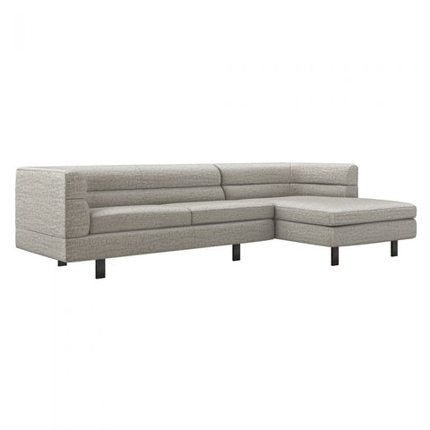 Ornette Right Chaise 2 Piece Sectional in heathered chenille / feather