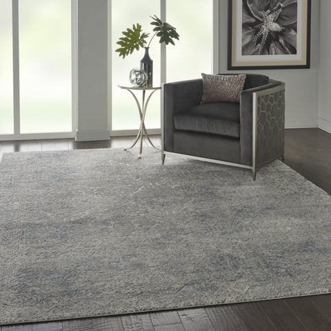 Rustic Textures Rug in Ivory/Light Blue by Nourison