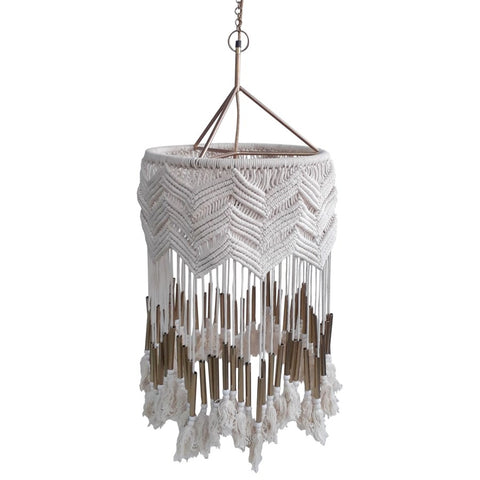 Pinnacles Macrame Pendant in White design by Selamat