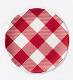 Red Check Melamine Plate Set