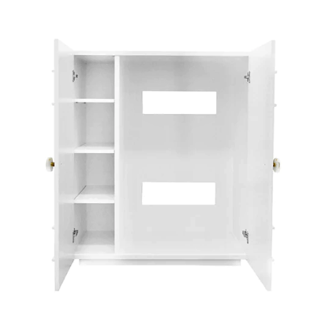 Two Door Matte White Lacquer Cabinet with Crystal & Brass Knobs