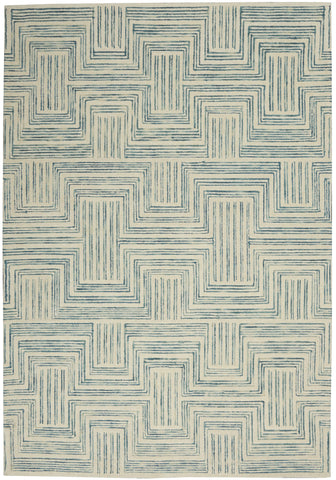 Interlock Rug in Ivory & Turquoise by Nourison