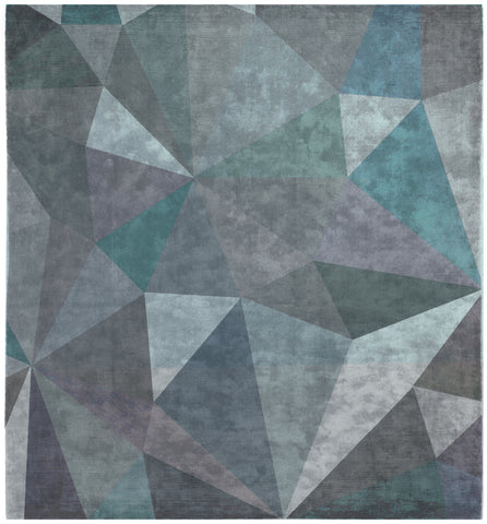 Quel Bordel Hand Knotted Rug in Grey & Blue design by Second Studio