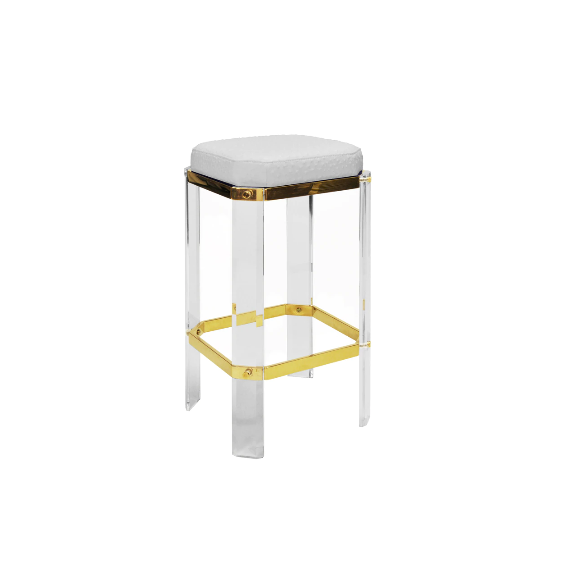 Acrylic Counter Stool with Brass Accents in Various Colors