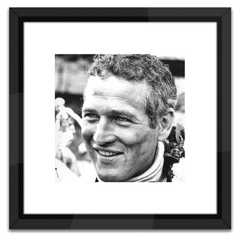 Paul Newman Racing in Black and White Print