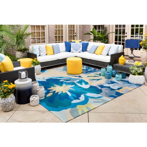 Rain Outdoor Rug in Bright Blue & Sky Blue