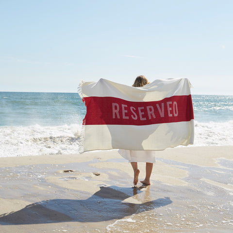 Reserved Beach Towel in Red design by Sir/Madam