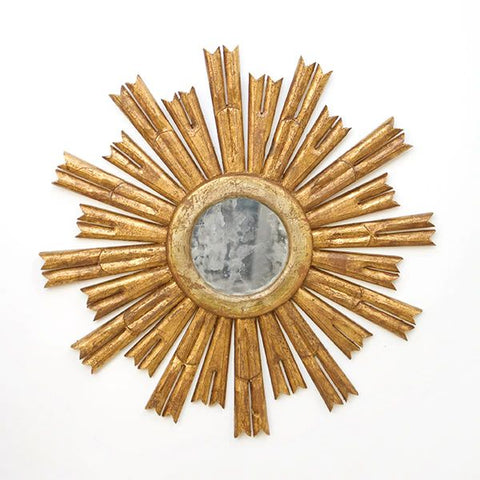 Rinaldo Starburst Mirror in Gold Leaf w/ Antique Mirror Center design by BD Studio