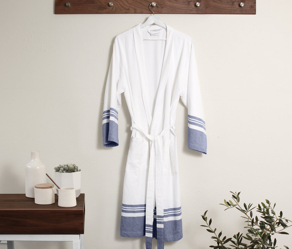 Peshtemal Robe in Navy design by Turkish Towel Company