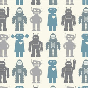 Robots Wallpaper in Blue design by Aimee Wilder