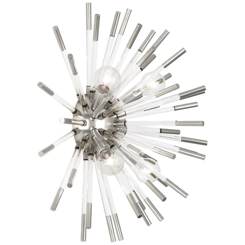 Andromeda Wall Sconce in Polished Nickel Finish w/ Clear Acrylic Accents by Robert Abbey