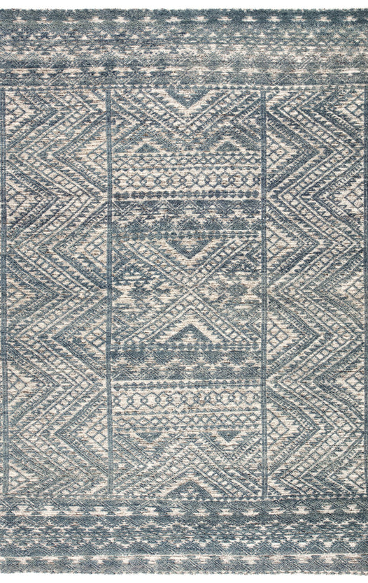 Prentice Hand-Knotted Geometric Blue & Ivory Area Rug