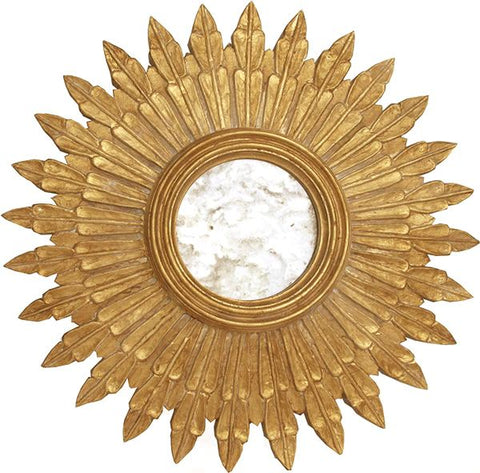 Santo Small Gold Leaf Starburst Mirror w/ Antique Mirror Inset design by BD Studio