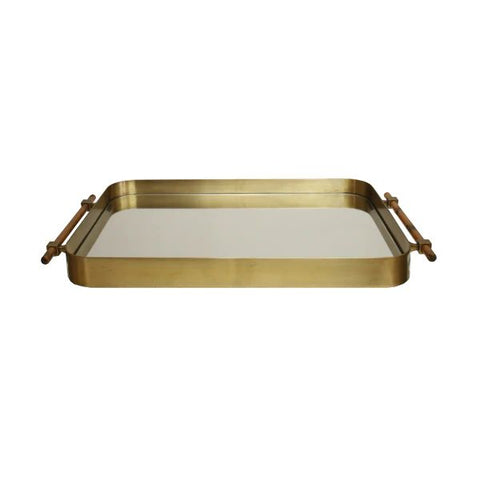Saratoga Rounded Edge Tray in Antique Brass w/ Resin Horn Handles & Inset Mirror design by BD Studio