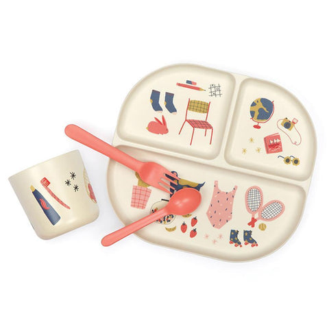 Illustrated Bamboo Kids Dinner Set in Various Colors design by EKOBO