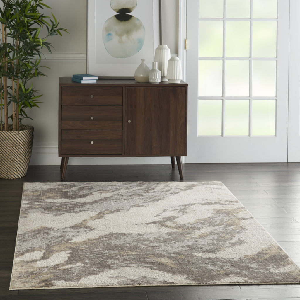 Silky Textures Rug in Brown/Ivory by Nourison