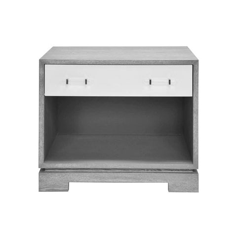Shane Side Table w/ Acrylic & Nickel Hardware in Matte White & Grey Cerused Oak