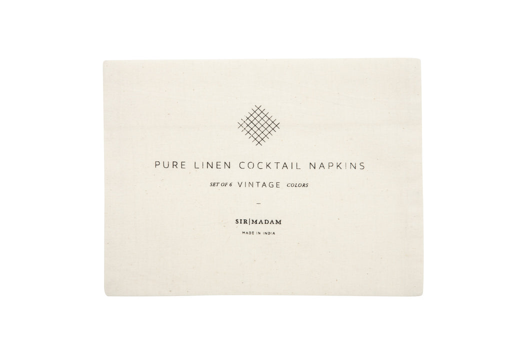 Vintage Cocktail Solid Linen Napkins Set of 6 design by Sir/Madam