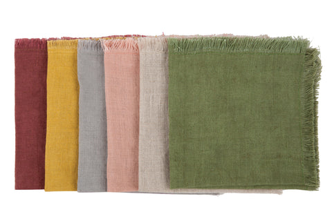 Vintage Cocktail Solid Linen Napkins Set of 6