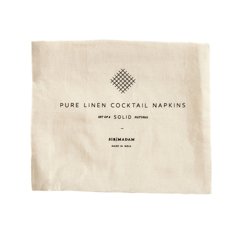 Natural Cocktail Solid Linen Napkins Set of 6 design by Sir/Madam