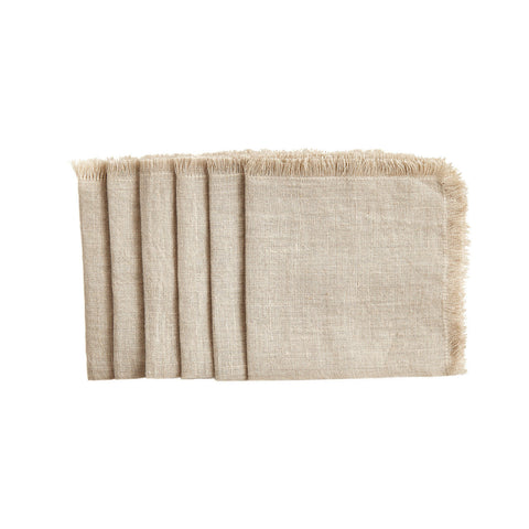 Natural Cocktail Solid Linen Napkins Set of 6