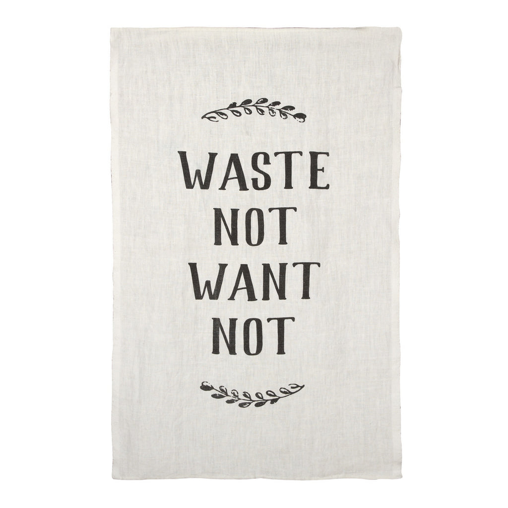 Waste Not, Want Not Pure Linen Tea Towel design by Sir/Madam