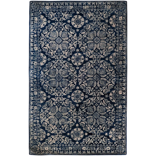 Smithsonian Collection Wool Area Rug in Dark Slate Blue, Dove Grey, and Parchment design by Smithsonian