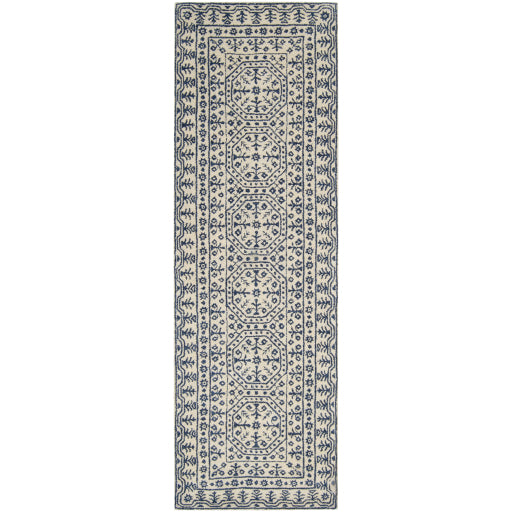 Smithsonian Collection New Zealand Wool Area Rug in Dark Slate Blue and Ivory design by Smithsonian