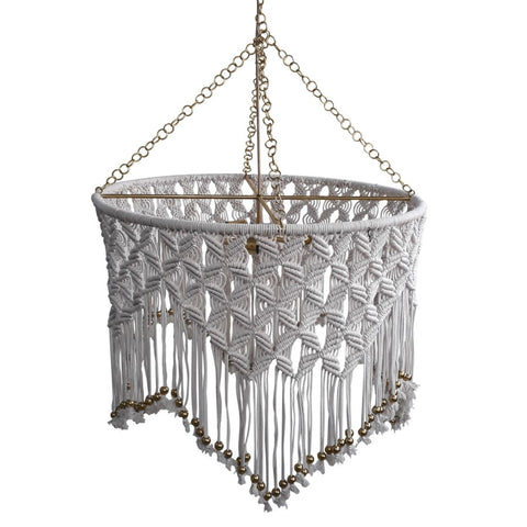 Sonora Macrame Chandelier in White design by Selamat