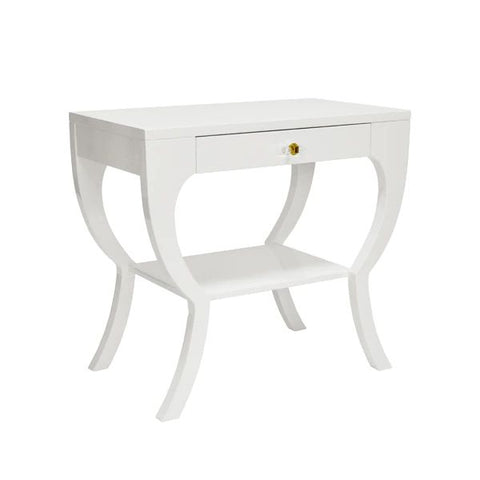 Sonya Curvy Side Table w/ Acrylic Hardware in White Lacquer