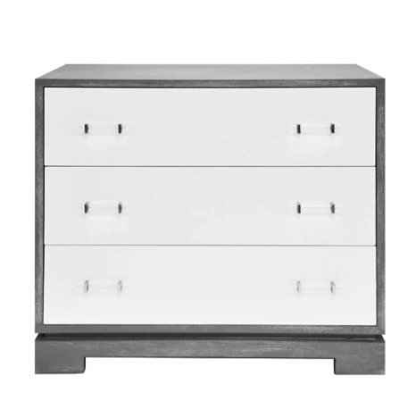 3 Drawer Chest with Acrylic Hardware in Various Colors