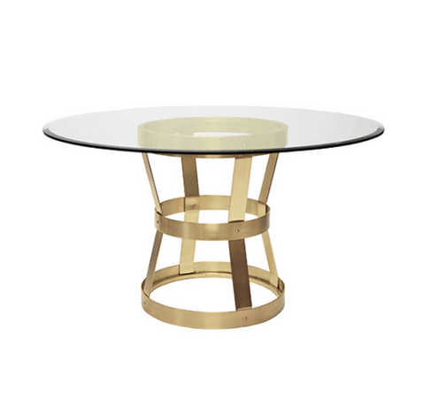 Industrial Style Dining Table in Antique Brass Base Only