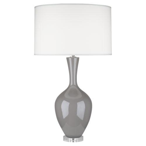 Audrey Table Lamp (Multiple Colors) with Fondine Fabric Shade design by Robert Abbey
