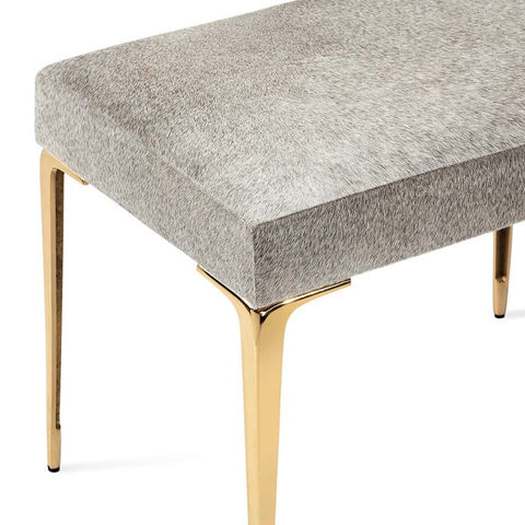 Stiletto Hide Stool in Brass by Interlude Home