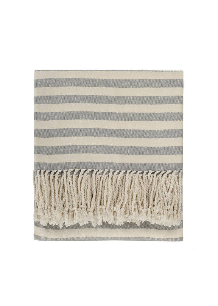 blue striped bamboo throw
