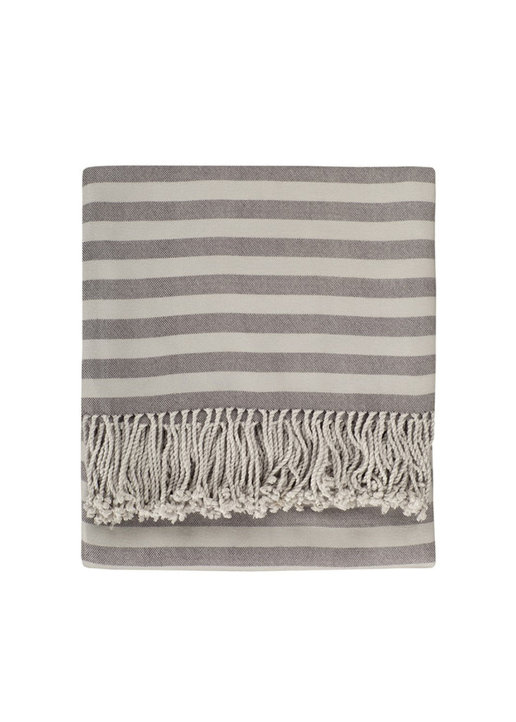 grey strioed bamboo throw