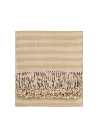 mustard striped bamboo throw