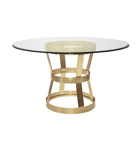 "Industrial Style Dining Table in Antique Brass with 54"" Diameter Glass Top"