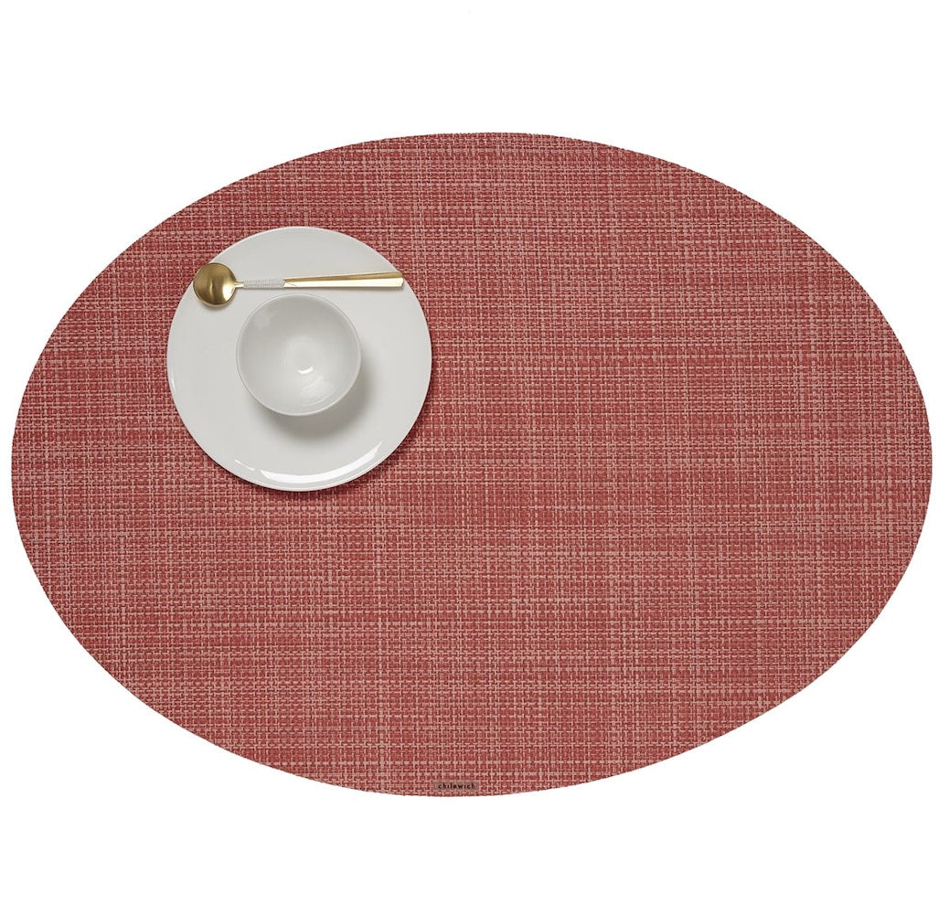 Mini Basketweave Oval Placemat In Various Colors Burke Decor