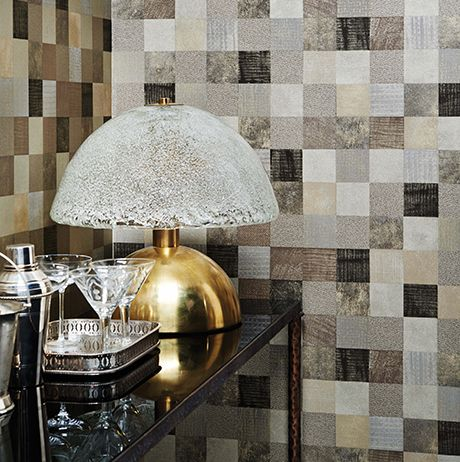 Tessella Wallpaper in brown from the Masque Collection by Osborne & Little